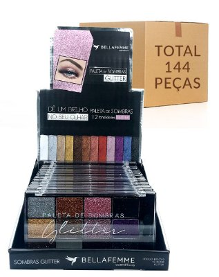 Paleta de Sombras Glitter – Bella Femme BF10062 – Caixa Fechada com 12 Displays