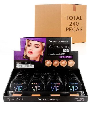Pó Compacto Matte VIP – Cores Clara – Bella Femme TR30003A –  Caixa Fechada com 10 Displays