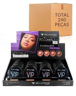 Pó Compacto Matte VIP – Cores Negra – Bella Femme TR30003C –  Caixa Fechada com 10 Displays