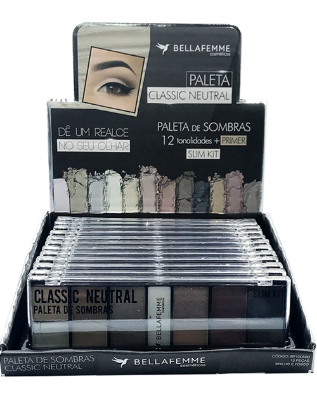 Paleta de Sombras Classic Neutral – Display com 12 estojos