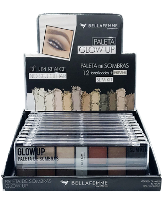 Paleta de Sombras Glow Up – Display com 12 estojos