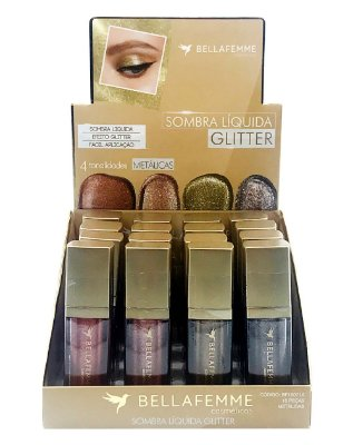 Sombra Líquida Glitter - Metallic – Display com 16 unidades