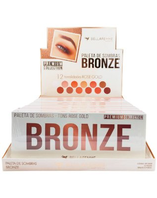 Paleta de Sombras Bronze – Display com 12 estojos