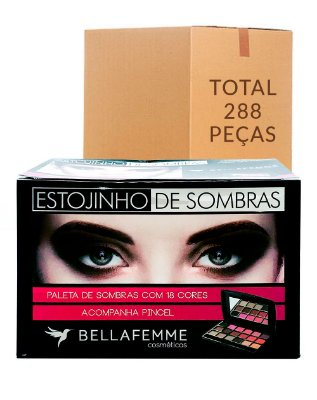 Estojinho de Sombras Opacas – Bella Femme BF10021A – Caixa Fechada com 24 Displays