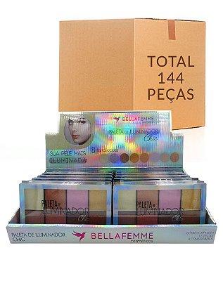 Paleta de Iluminador - Chic – Bella Femme BF10061 – Caixa Fechada com 12 Displays