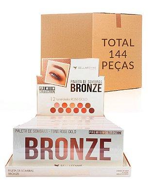 Paleta de Sombras Bronze – Bella Femme BF10059 – Caixa Fechada com 12 Displays
