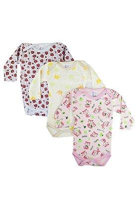 Kit Body Bebê Estampado MLonga - 3 pçs Meninas