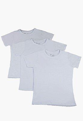 Kit Camiseta Infantil Menino Básico - 3 pçs Branco