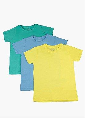 Kit Camiseta Infantil Menino Básico - 3 pçs Amarelo