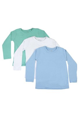 Kit Camiseta Infantil Menino Básico - 3 pçs Azul