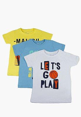 Kit Camiseta Infantil Menino com Estampa - Amarela