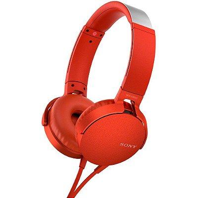 Fone de Ouvido Sony MDR-XB550AP Headphone com Microfone - Vermelho