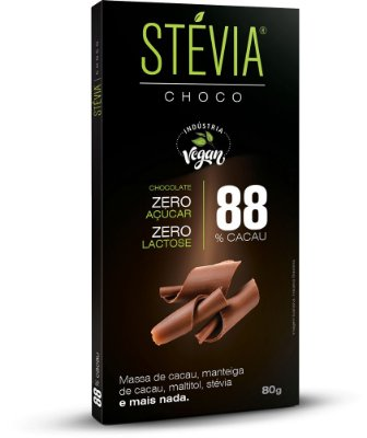Tablete 80g StéviaChoco - Puro com 88% cacau