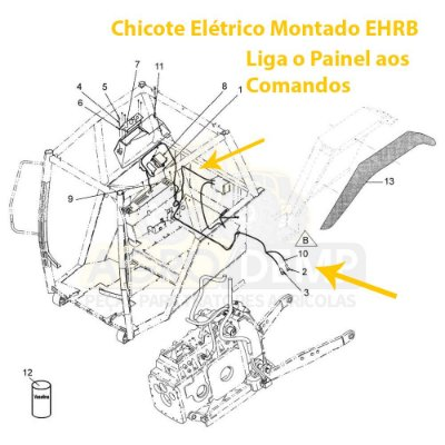 CHICOTE ELÉTRICO ELETRO HIDRÁULICO DO EHRB ORIGNAL - VALTRA / VALMET BH145 / BH180 / BH205 / 1280 / 1780 - 85399510