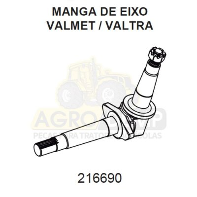 MANGA DE EIXO DIANTEIRO DE AMBOS LADOS PARA TRATORES 68 E PRATAS CAFEEIROS - VALMET 68 / 78 E 88 - 216690