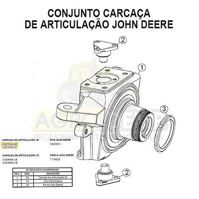 CARCAÇA DE ARTICULAÇÃO (LADO ESQUERDO) - JOHN DEERE 6100E / 6125E / 6100J / 6125J / 6135J / 6300 / 6500 E 6600 - CQ27249