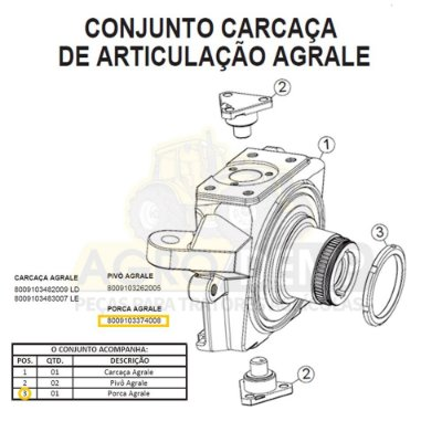 PORCA RANHURADA DA CARCAÇA (APL 335 / 340 / 345 E 350) - AGRALE BX490 / BX4110 / BX4130 / BX6110 E BX6150 - 8009103374008