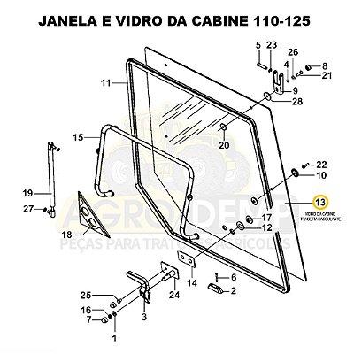 VIDRO DA CABINE TRASEIRA BASCULANTE - MASSEY FERGUSON 4275 / 4283 / 4290 / 4291 / 4292 / 4297 / 4298 E 4299 - 6223763