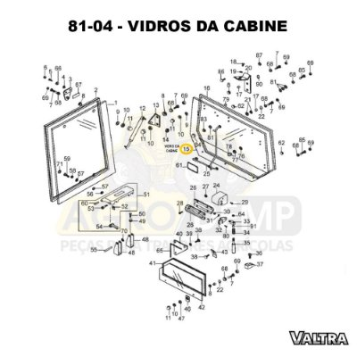 VIDRO DA CABINE - VALTRA BH140 HI / BH160 HI E BH180 HI - 31553300