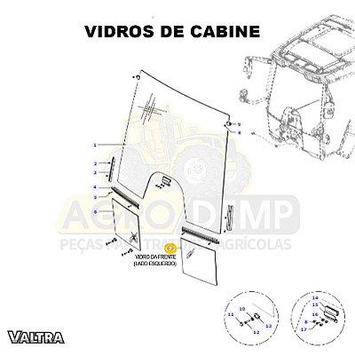 VIDRO DA FRENTE NO CANTO INFERIOR (LADO ESQUERDO) - VALTRA BH 135 / BH145 / BH165 / BH180 / BH200 E BH210 - 36482610