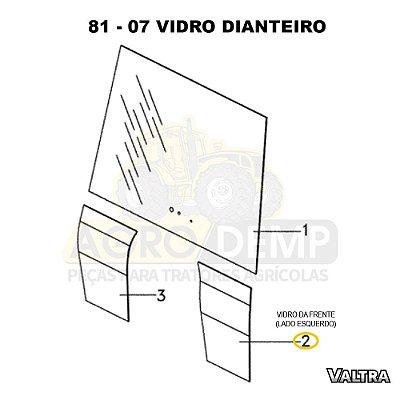 VIDRO DA FRENTE NO CANTO INFERIOR (LADO ESQUERDO) - VALTRA BT150 / BT170 E BT190 - 84844801