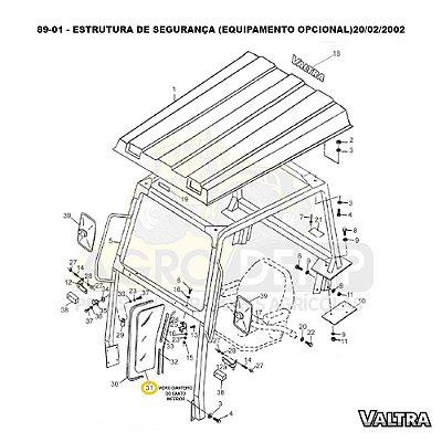 VIDRO DA PARTE DIANTEIRA - VALTRA 885 / 985 / BH140 / BH160 / BH180 / BM85 / BM100 / BM110 / BM120 / 1280R / 1580 E 1780 - 81132600