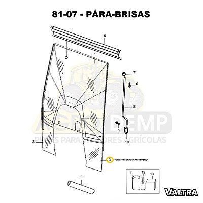 VIDRO DIANTEIRO DO CANTO INFERIOR - VALTRA BH145 / BH165 / BH180 / BH185 / BH205 / BM100 / BM110 / BM120 / BM125 E 1780 (GERAÇÕES 1 E 2) - 83827900