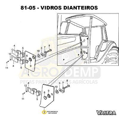 VIDRO DIANTEIRO DO CANTO INFERIOR - VALTRA BH145 / BH165 / BH180 / BH185 / BH205 / BM85 / BM100 / BM110 / BM120 E BM125 (GERAÇÕES 1 E 2) - 85068600