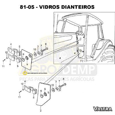 VIDRO DIANTEIRO DO CANTO SUPERIOR - VALTRA BH145 / BH165 / BH180 / BH185 / BH205 / BM85 / BM100 / BM110 / BM120 E BM125 (GERAÇÕES 1 E 2 ) - 85068500