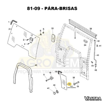 VIDRO (LADO ESQUERDO) - VALTRA BH140 / BH160 / BH180 / BM85 / BM100 / BM110 E BM120 - 81471600