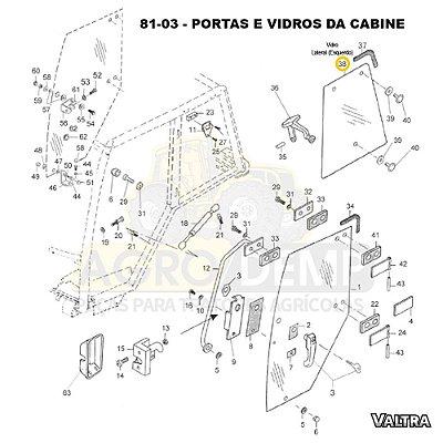 VIDRO LATERAL DA CABINE (LADO ESQUERDO) - VALTRA BH140 / BH160 / BH180 / BM85 / BM100 / BM110 E BM120 - 81474800