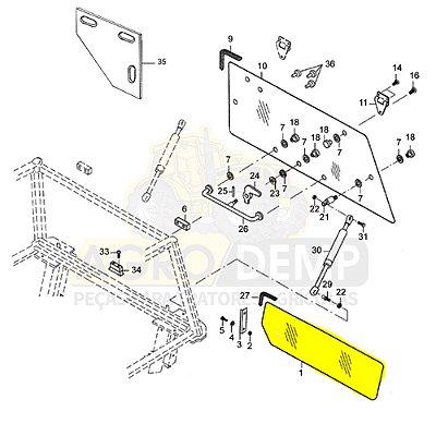 VIDRO TRASEIRO INFERIOR (PEQUENO - ABAIXO DA JANELA) TRATOR VALTRA - BH140 / BH145 / BH160 / BH165 / BH180 / BH185I / BH205I - BM100 / BM110 / BM120 / BM125 G2 - 1780 G2 - 32054020
