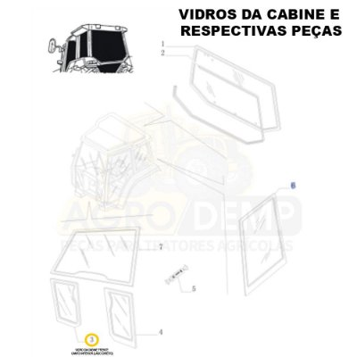 VIDRO DA CABINE FRENTE CANTO INFERIOR (LADO DIREITO) - NEW HOLLAND TL60E / TL75E / TL85 / TL95E / TM135 / TM150 / TM165 / TM180 / TM7010 / TM7020 / TM7030 / TM7040 / TS6020 / TS6030 E TS6040 - 87314707