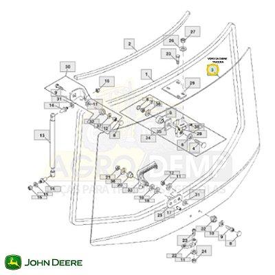 VIDRO TRASEIRO DA CABINE (MODELO IMPORTADO) - JOHN DEERE 7200 / 7210 / 7400 / 7410 / 7510 / 7600 / 7610 / 7700 / 7710 / 7800 E 7810 - R110990