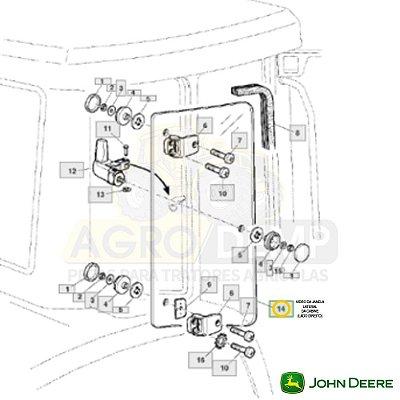 VIDRO DA JANELA LATERAL DA CABINE (LADO DIREITO) - JOHN DEERE 6415 / 6615 E 7515 - L170546