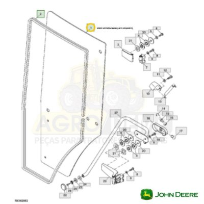 VIDRO DA PORTA CABINE (LADO ESQUERDO MODELO IMPORTADO) - JOHN DEERE 7200 / 7210 / 7400 / 7410 / 7510 / 7600 / 7610 / 7700 / 7710 / 7800 E 7810 - R131163
