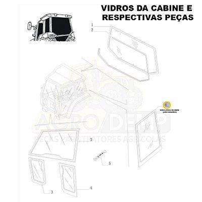 VIDRO LATERAL DA CABINE (LADO ESQUERDO) - NEW HOLLAND TL60E / TL75E / TL85E / TL95E / TM135 / TM150 / TM165 / TM180 / TM7010 / TM7020 / TM7030 / TM7040 / TS6000 / TS6020 / TS6030 E TS6040 - 87314704