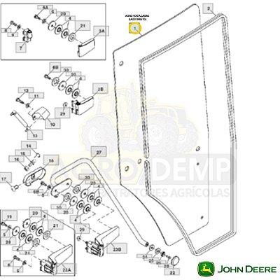 VIDRO PORTA CABINE (LADO DIREITO MODELO IMPORTADO) - JOHN DEERE 7200 / 7210 / 7400 / 7410 / 7510 / 7600 / 7610 / 7700 / 7710 / 7800 E 7810 - R131164