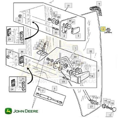 VIDRO PORTA DA CABINE (LADO DIREITO) - JOHN DEERE 6110 / 6120 / 6300 / 6310 / 6410 / 6500 / 6600 / 6610 - L77648
