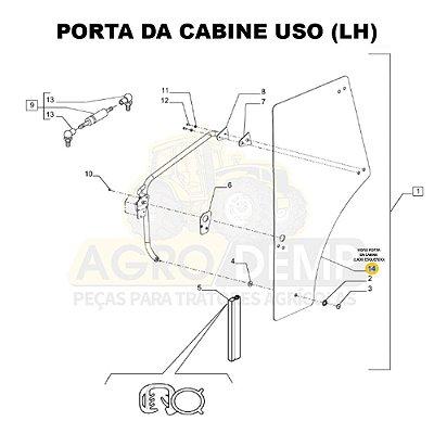 VIDRO PORTA DA CABINE (LADO ESQUERDO) - NEW HOLLAND T5.80 / T5.90 / T5.100 / TL60E / TL75E / TL85E E TL95E - 87620234