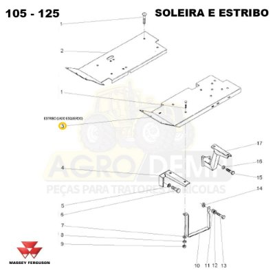 ESTRIBO (LADO ESQUERDO) - MASSEY FERGUSON 265ADV / 265 / 275ADV / 275 / 283ADV E 283 - 027351