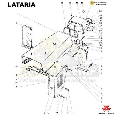 PAINEL TRASEIRO BATERIA C / SUPORTE TAMPA - MASSEY FERGUSON 265 / 275 / 283 / 290 E 297 - 3149357
