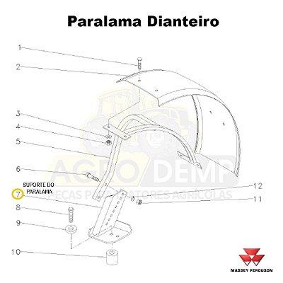 SUPORTE DO PARALAMA (LADO ESQUERDO) - MASSEY FERGUSON 290ADV / 290 / 292ADV / 292 / 297ADV / 297 / 298ADV / 298 / 299ADV / 299 / 610 / 620 / 630 / 640 / 650ADV / 650 / 5275 / 5285 E 5290 - 053070