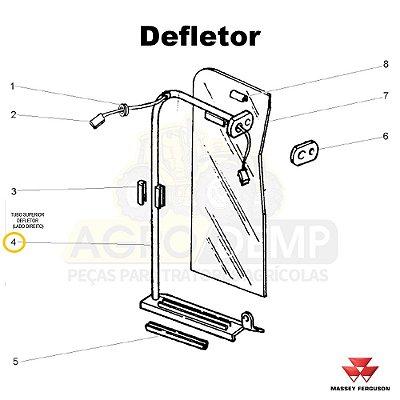 TUBO SUPERIOR DEFLETOR (LADO DIREITO) - MASSEY FERGUSON 265ADV / 265 / 275ADV / 275 / 283ADV / 283 / 290ADV E 290 - 022947
