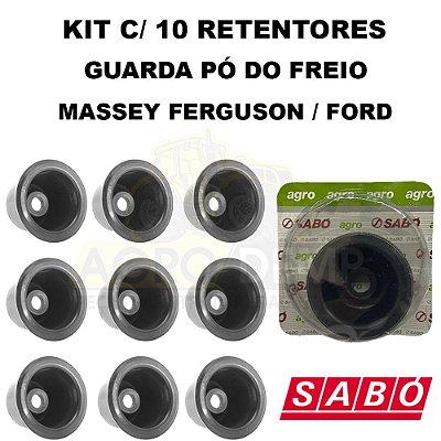KIT COM 10 RETENTOR - GUARDA PÓ DA HASTE DE COMANDO DO FREIO (SABÓ - ORIGINAL) TRATOR MASSEY FERGUSON E FORD - 1860959 / C5NN2N336A / 02020S