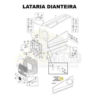 CHAPA LATERAL CANTO SUPERIOR (LADO ESQUERDO) - VALTRA BM100 GERAÇÃO 1 - 81895600
