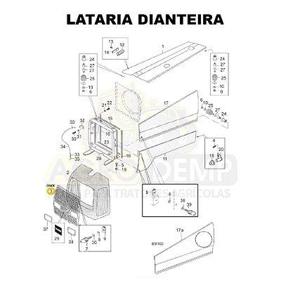 GRADE FRONTAL DA MASCARA RADIADOR - VALTRA BM85 / BM100 (GERAÇÃO 1) - 81895700