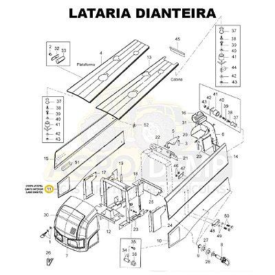 CHAPA LATERAL CANTO INFERIOR (LADO DIREITO) - VALTRA BH145 / BH165 / BH180 / BH185 / BH205 / 1280R  E 1780 (GERAÇÕES 1 E 2) - 84861500