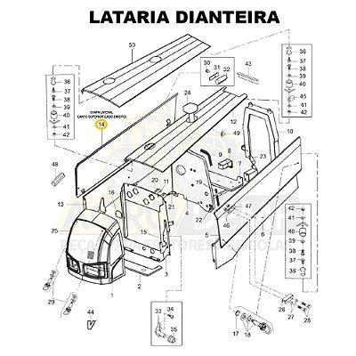 CHAPA LATERAL CANTO SUPERIOR (LADO DIREITO) - VALTRA BM110 GERAÇÃO 2 E BM125 GERAÇÃO 1 - 85145600