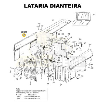 CHAPA LATERAL (LADO DIREITO) - VALTRA 785C E 785F - 81937300